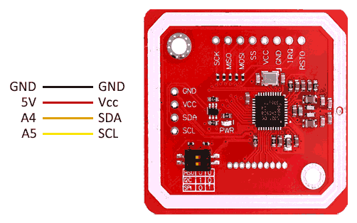 arduino nfc pn532 uart esquema - Electrogeek